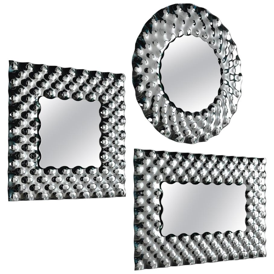 Fiam Pop PP/148 Round Wall Mirror in Fused Glass, by Marcel Wanders
