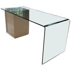 Fiam Rialto L Monolithic Glass Desk with Storage Drawer Unit