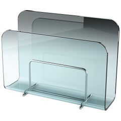 Fiam Vogue V40 Magazine Rack in Curved Transparent Glass, by Roberto Paoli