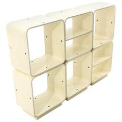 Fiarm White Lacquered Modular Bookcase, 1960s