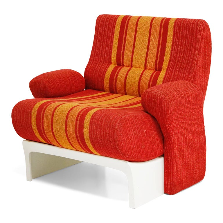 Modern Fiberglass Scoop Lounge Chairs with Striped Fabric by Ernst Moeckl, Germany For Sale