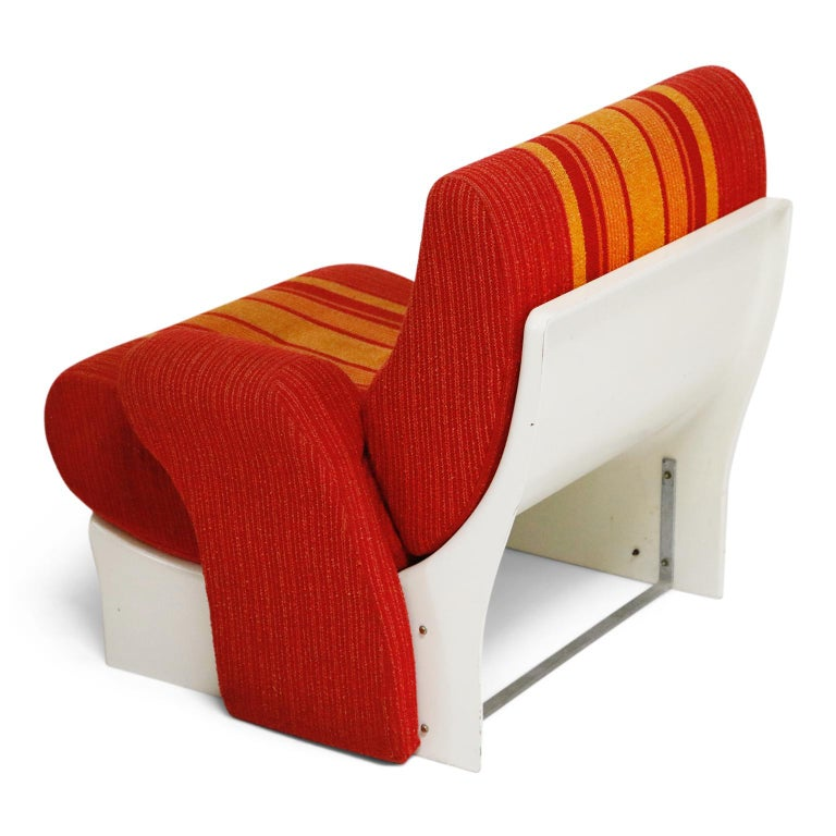 Mid-20th Century Fiberglass Scoop Lounge Chairs with Striped Fabric by Ernst Moeckl, Germany For Sale