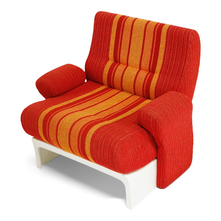 Fiberglass Scoop Lounge Chairs with Striped Fabric by Ernst Moeckl, Germany For Sale 1