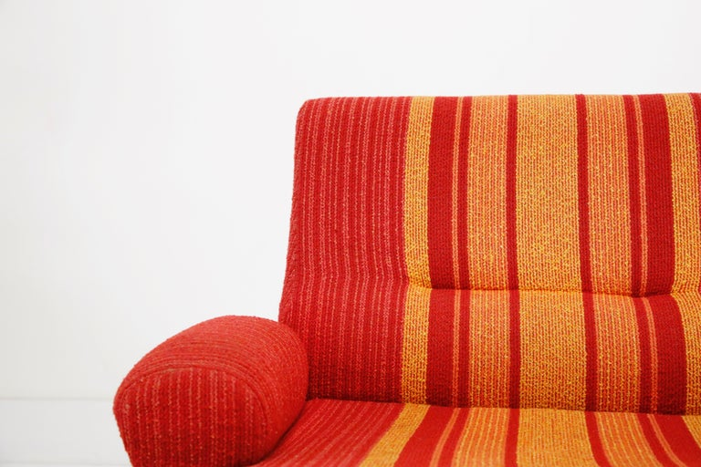 Fiberglass Scoop Lounge Chairs with Striped Fabric by Ernst Moeckl, Germany For Sale 2