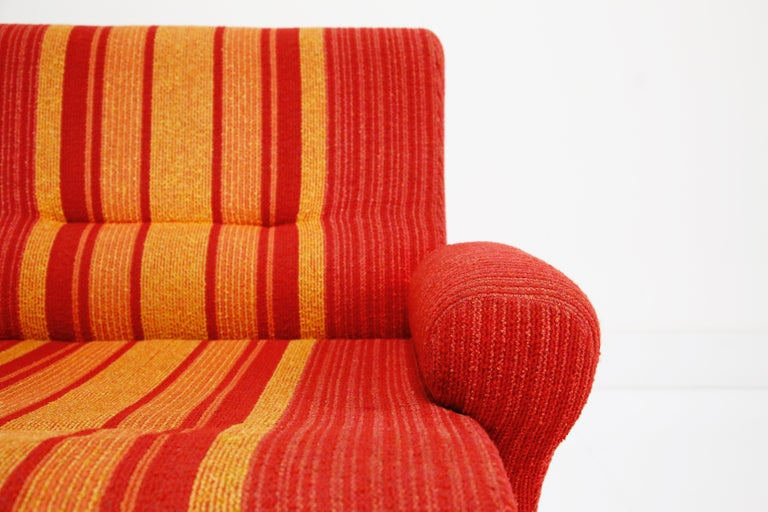 Fiberglass Scoop Lounge Chairs with Striped Fabric by Ernst Moeckl, Germany For Sale 3