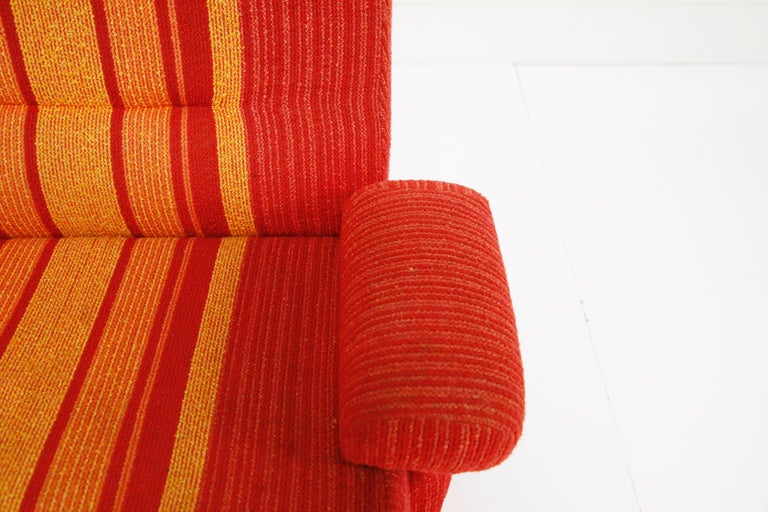 Fiberglass Scoop Lounge Chairs with Striped Fabric by Ernst Moeckl, Germany For Sale 4