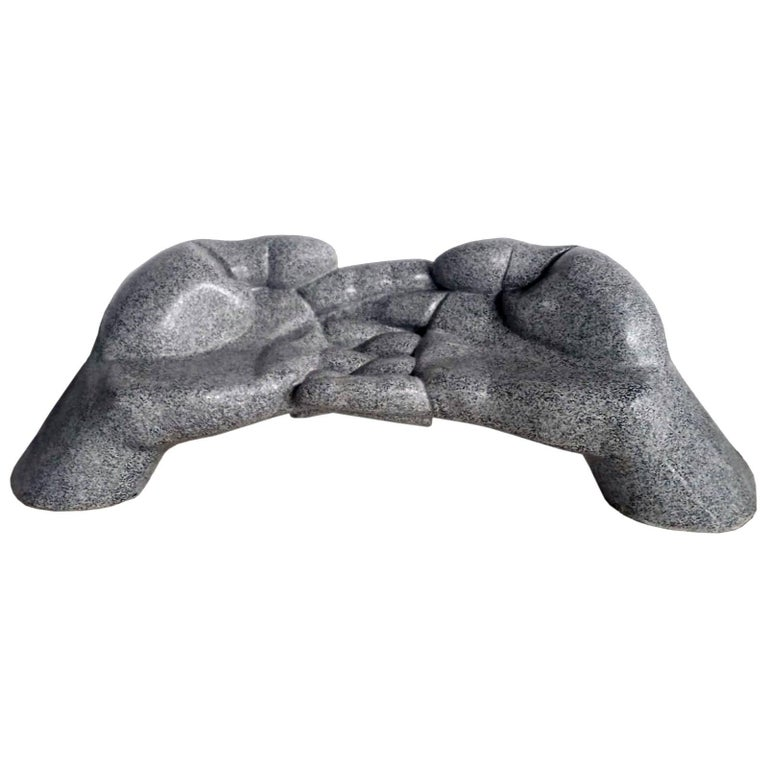 Fiberglass Sculptural Sofa, Bench, Loveseat '24U' Stone Finish Outdoor Indoor For Sale