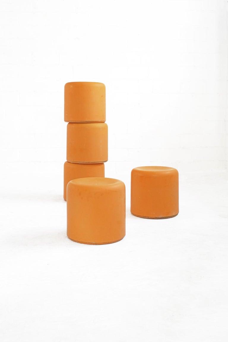 Fiberglass Stool in Orange-Yellow For Sale 7