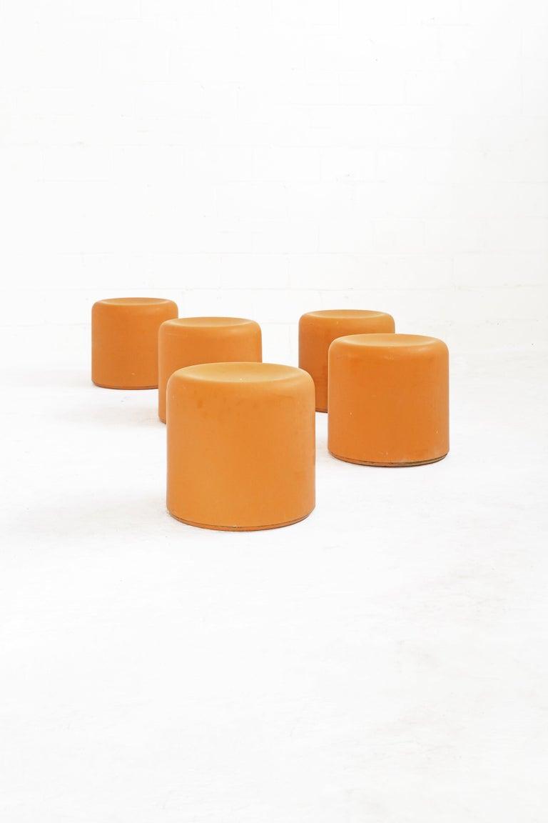 Fiberglass Stool in Orange-Yellow For Sale 9