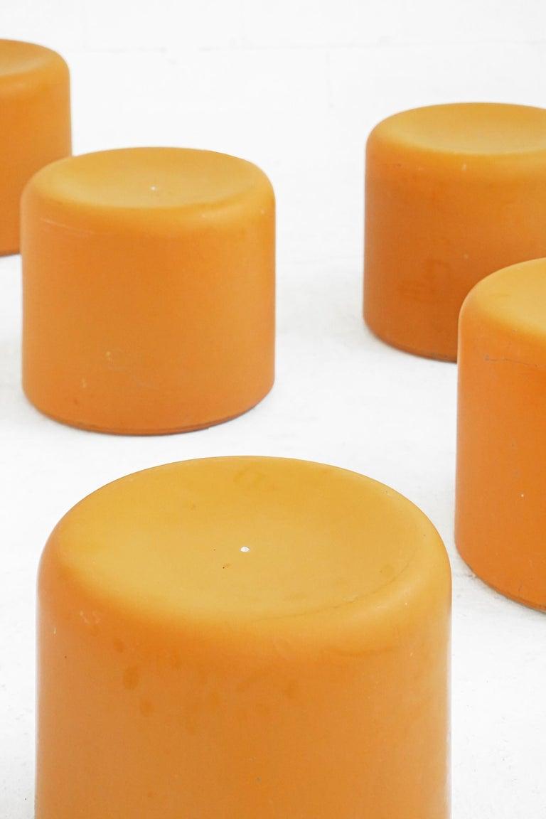 Fiberglass Stool in Orange-Yellow For Sale 11
