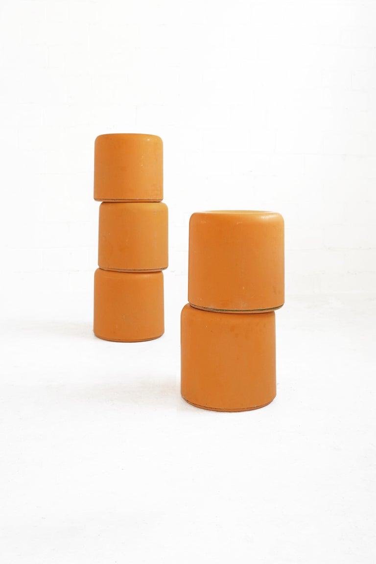 Amazing bright orange-yellow fiberglass stools, 5 available - priced per stool. All stools vary in condition, but all are overall in good vintage condition with minor wear, consistent with age.