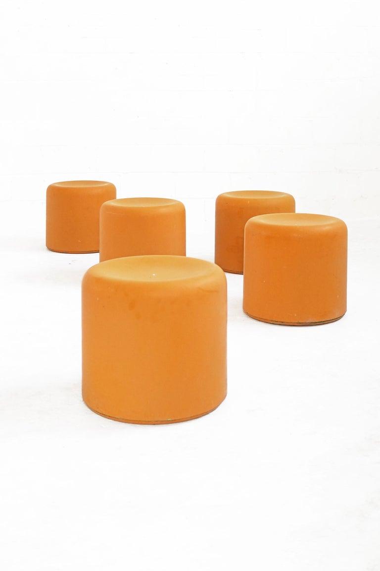 Late 20th Century Fiberglass Stool in Orange-Yellow For Sale