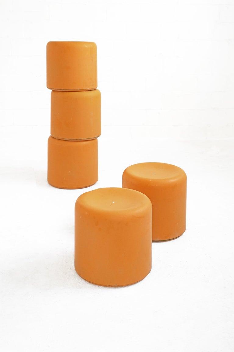 Fiberglass Stool in Orange-Yellow For Sale 1