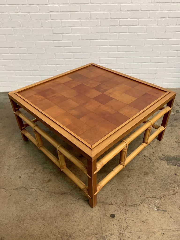 Fickes Reed Coffee Table with Patchwork Leather Top For Sale 3