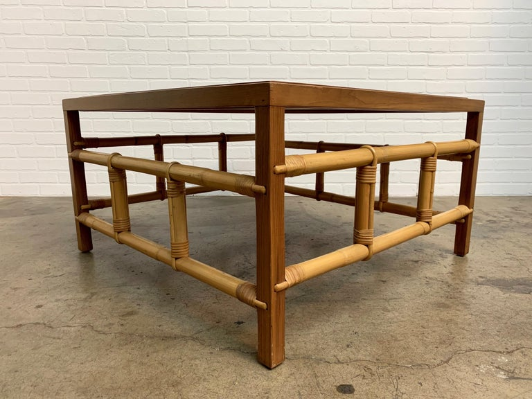 Fickes Reed Coffee Table with Patchwork Leather Top For Sale 4