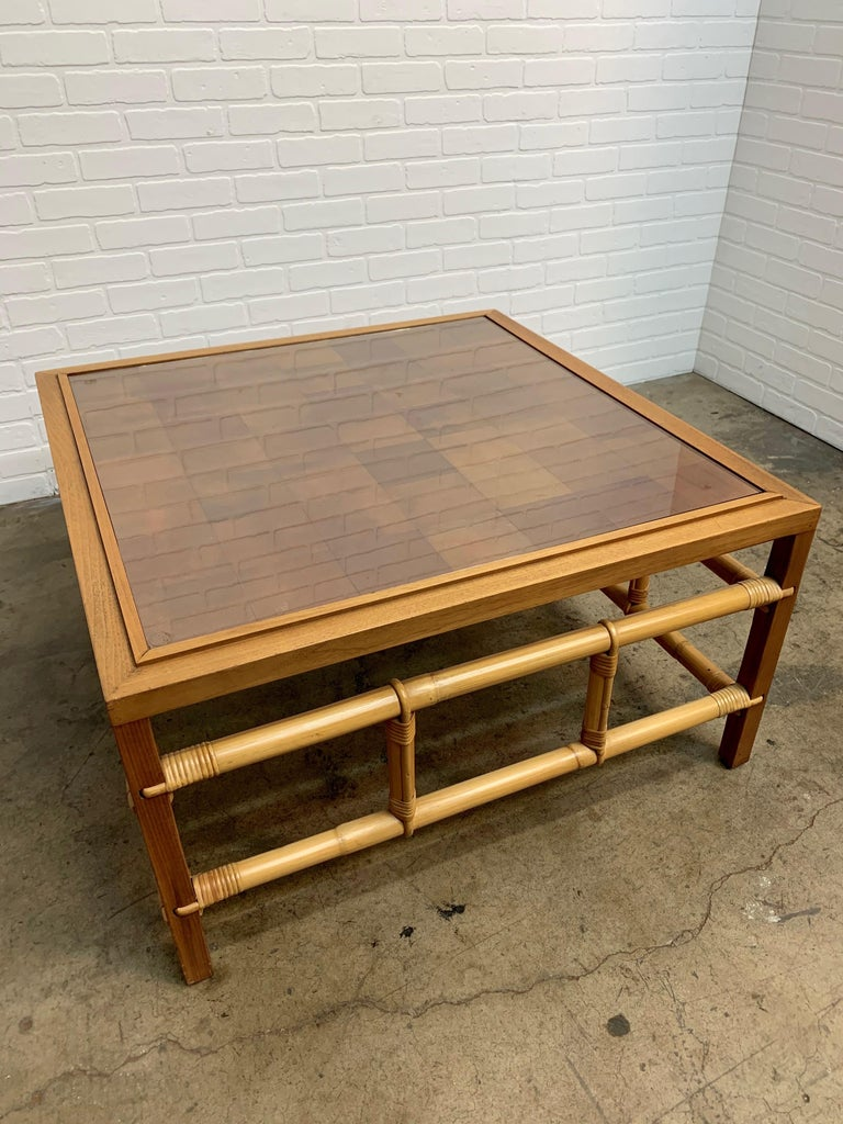 Fickes Reed Coffee Table with Patchwork Leather Top For Sale 8