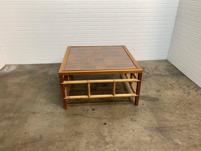 Fickes Reed Coffee Table with Patchwork Leather Top For Sale 9