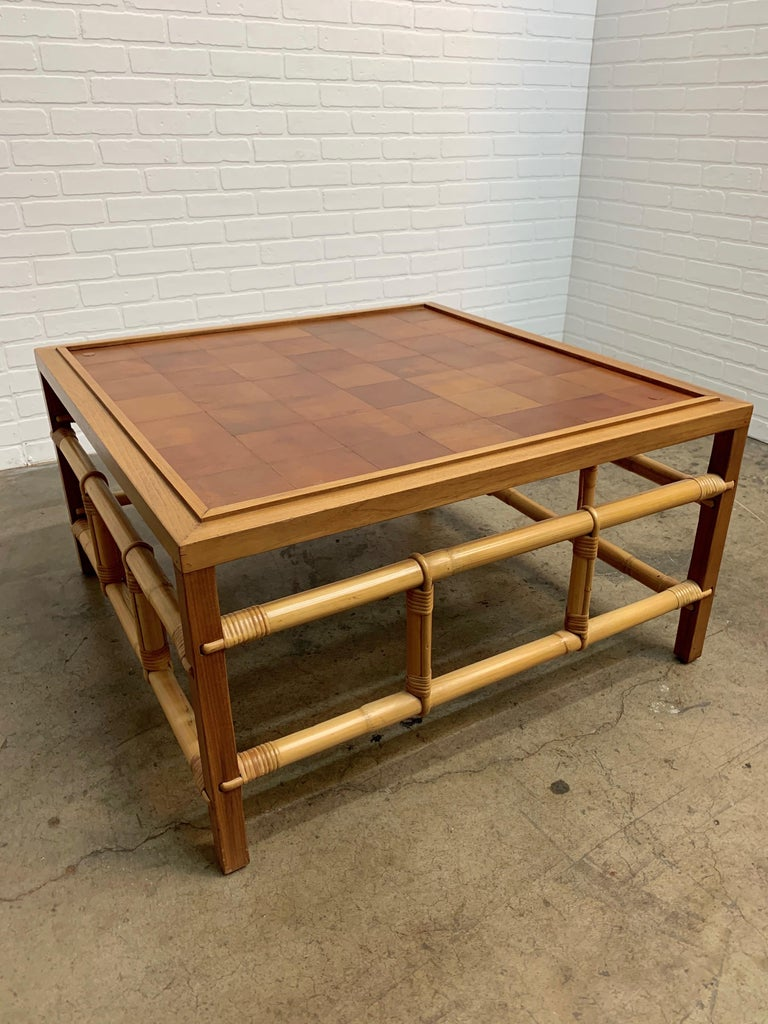 Fickes Reed Coffee Table with Patchwork Leather Top In Good Condition For Sale In Laguna Hills, CA