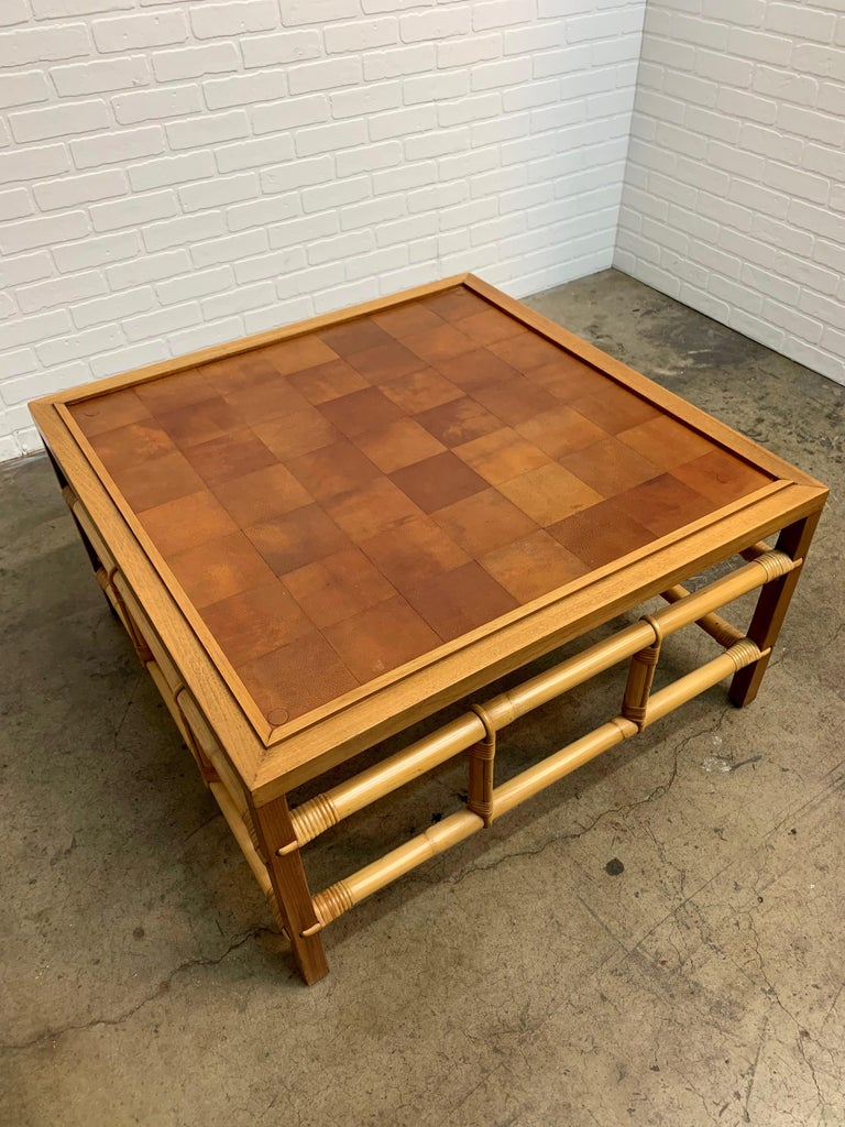 Glass Fickes Reed Coffee Table with Patchwork Leather Top For Sale