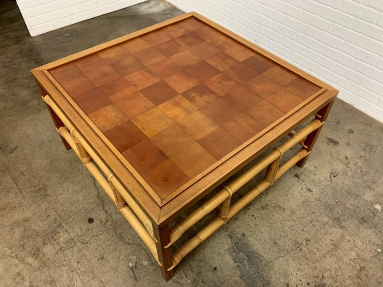 Fickes Reed Coffee Table with Patchwork Leather Top For Sale 2