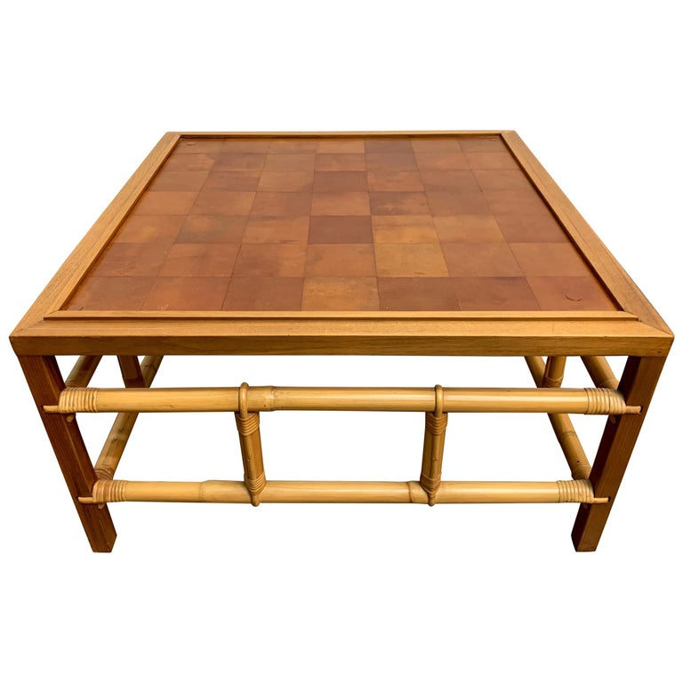 Fickes Reed Coffee Table with Patchwork Leather Top For Sale