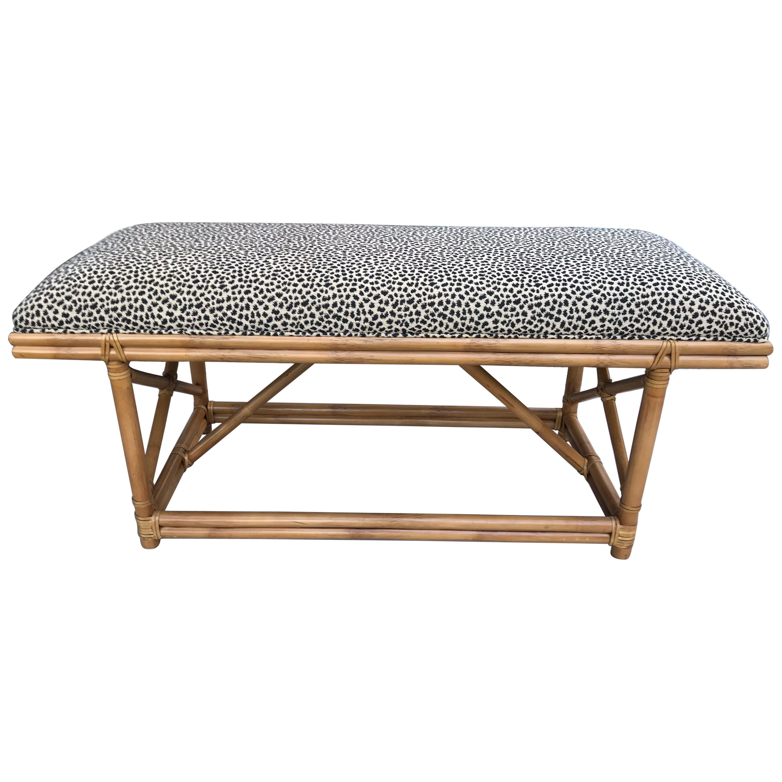 Ficks Reed Bamboo Upholstered Bench