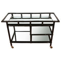 Ficks Reed Black Lacquered Rattan and Mirror Bar Cart