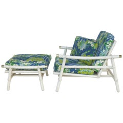 Ficks Reed John Risner Rattan Lounge Chair and Ottoman, Campaign Style