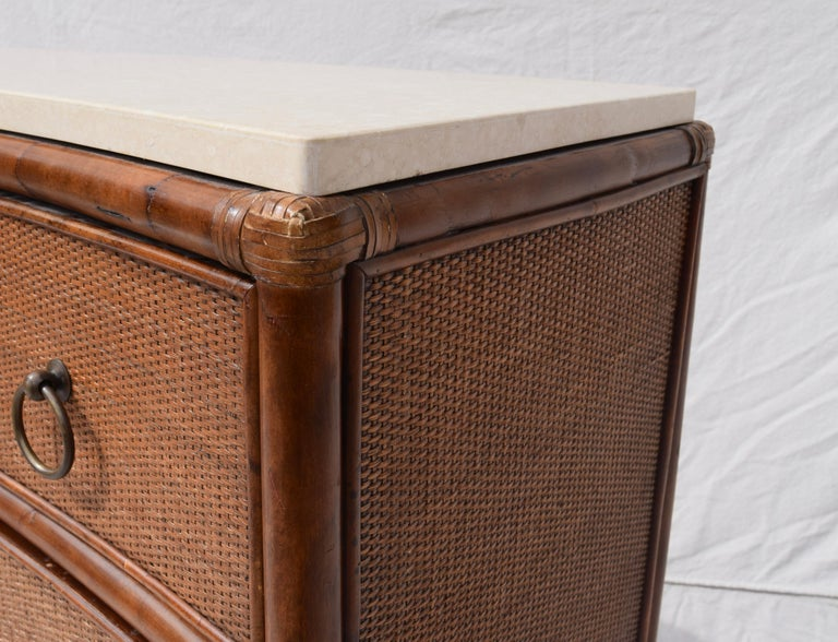 American Ficks Reed Caned Bamboo and Marble Chest of Drawers For Sale