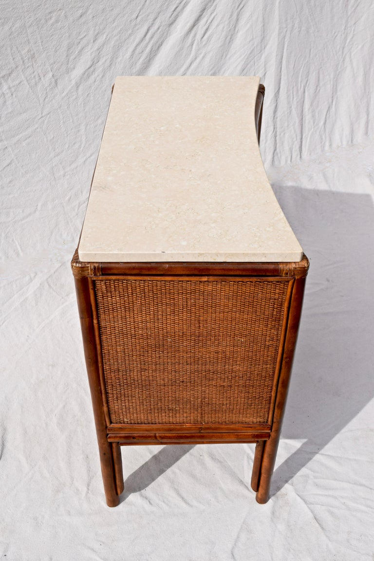 Leather Ficks Reed Caned Bamboo and Marble Chest of Drawers For Sale