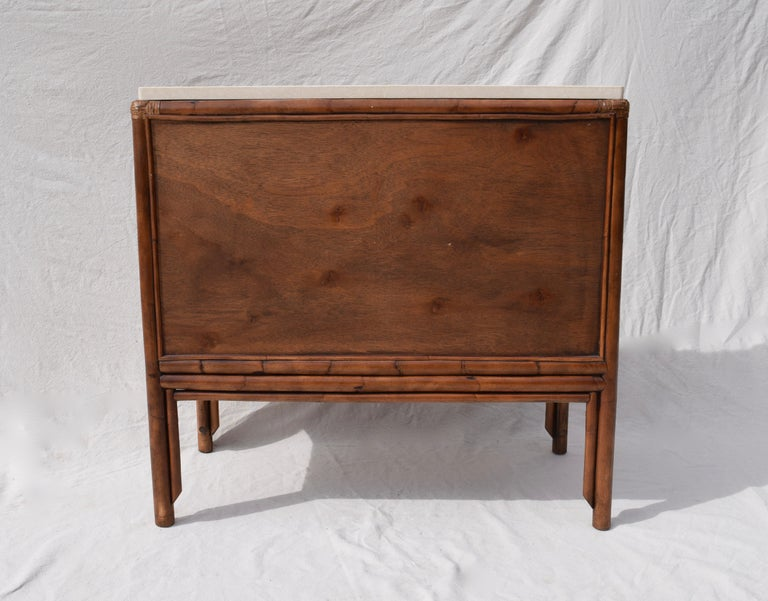 Ficks Reed Caned Bamboo and Marble Chest of Drawers For Sale 1