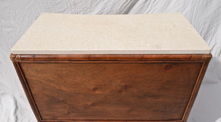 Ficks Reed Caned Bamboo and Marble Chest of Drawers For Sale 2