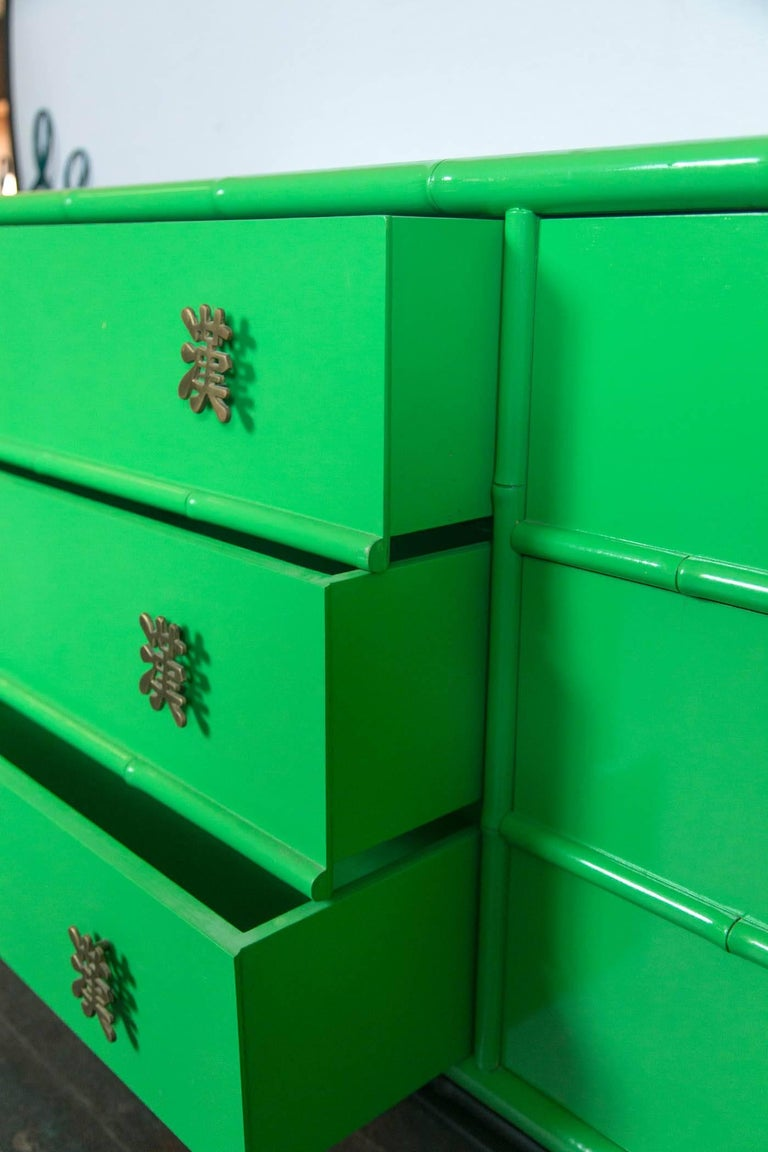 Late 20th Century Ficks Reed Chinoiserie Credenza or Long Chest of Drawers For Sale