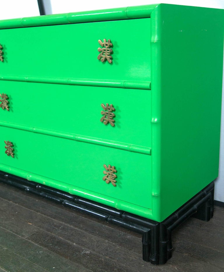 Ficks Reed Chinoiserie Credenza or Long Chest of Drawers For Sale 4