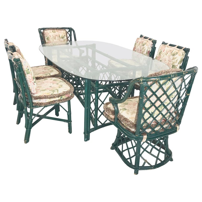 Dining Table And Chairs For Sale: Ficks Reed Dining Table And Chairs For Sale At 1stdibs