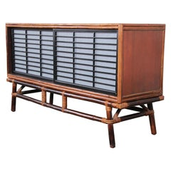 Ficks Reed Hollywood Regency Chinoiserie Rattan and Oak Credenza