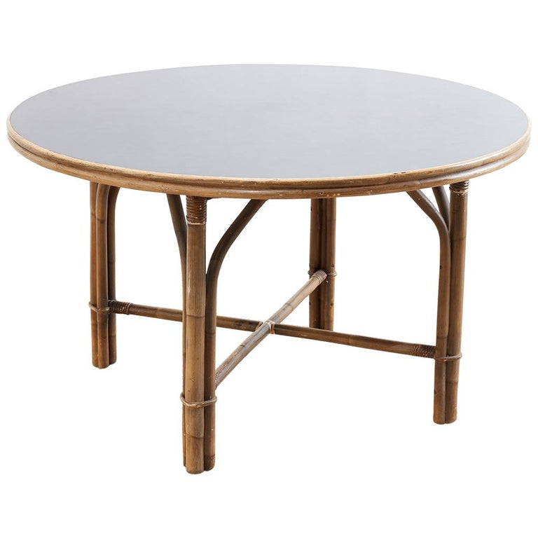 c5e6ddc237ea Ficks Reed Midcentury Rattan Dining Table For Sale at 1stdibs
