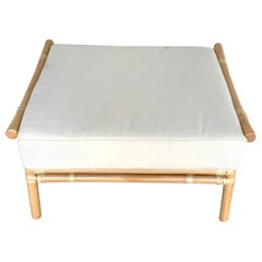 Ficks Reed Natural Rattan Ottoman by John Wisner, Restored