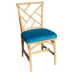 Ficks Reed Peach Lacquered Bamboo Chair with Blue Velvet Upholstered Seat