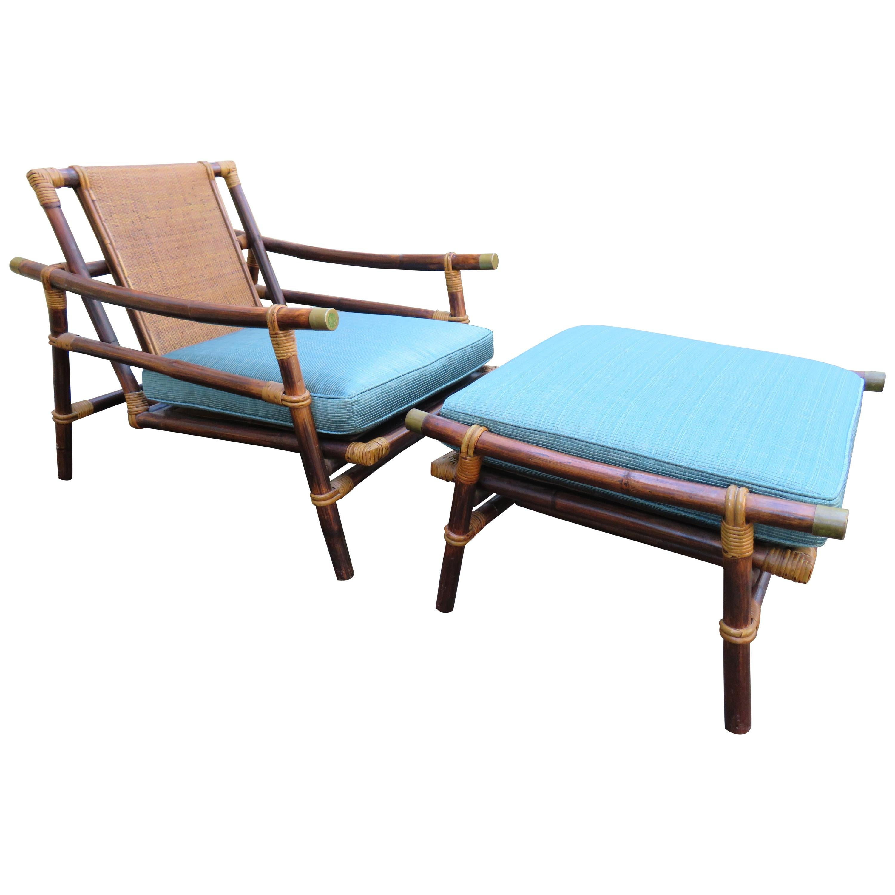 Ficks Reed Rattan Lounge Club Chair Ottoman by John Wisner Campaign Style