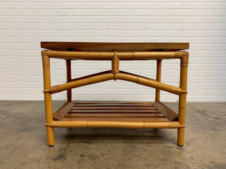 Mid-Century Modern Ficks Reed Side Table with Walnut Shelf and Patchwork Leather Top For Sale
