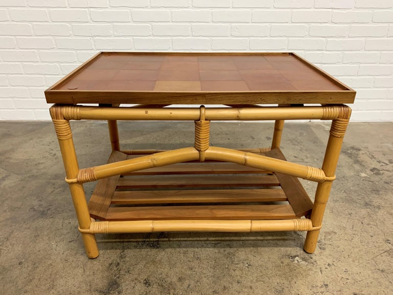 Ficks Reed Side Table with Walnut Shelf and Patchwork Leather Top For Sale 3