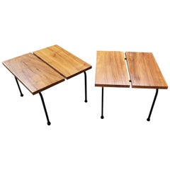 Ficks Reed Steel and Wood End Tables