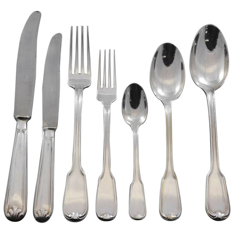 Large and heavy dinner size Fiddle Thread German 800 Silver Flatware set - 58 pieces. This set includes: