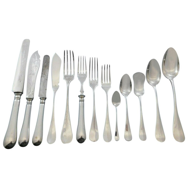 Fidelio by Christofle France Silver Plate Flatware Set Service 186 Pieces Dinner For Sale