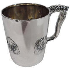 Fido Mug, Antique Gorham Sterling Silver Baby Cup with Canine Medley