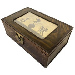 "Fidus ""THE FOUR SEASONS"" Silhouette Print Jewelry Keepsake Box, circa 1900"