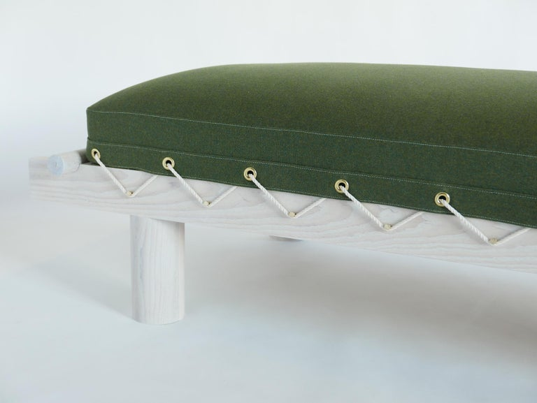 Modern White Ash and Wool Upholstered Day Bed with Brass Pegs and Natural Cord Lashing For Sale