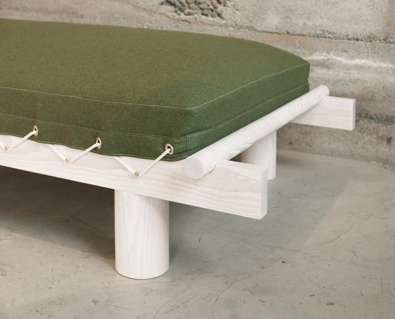 Lacquered White Ash and Wool Upholstered Day Bed with Brass Pegs and Natural Cord Lashing For Sale