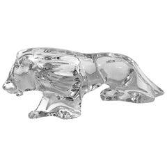 Fierce Large Baccarat Crystal France Walking Lion Figurine